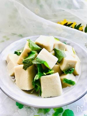 ボウルひとつレンチンだけ♪みつばと高野豆腐の含め煮