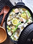旨味たっぷり。魚介と新じゃが・アスパラのクリーム煮。