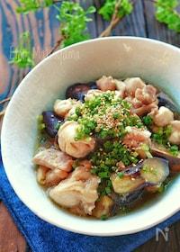 『レンジで簡単!!なすと鶏肉のスタミナ甘酢煮【すし酢使用】』