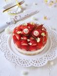 ごろごろ苺ゼリーのレア・ホワイトチョコチーズケーキ