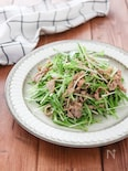 ドレッシングなしで簡単!豚肉と水菜のごまはりはりサラダ♪