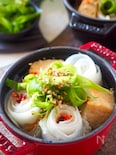 【簡単巻くだけ】豚ばら肉と大根のクルクルピリ辛ブーケ鍋