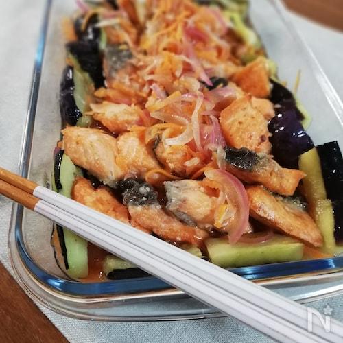 今が美味しい季節☆鮭となすの南蛮漬け