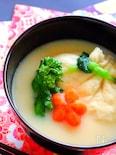 海老しんじょうの巾着と白味噌のお味噌汁