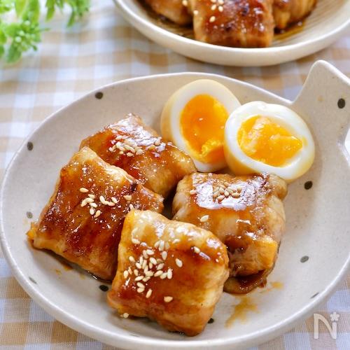 節約中にも◎『冷凍豆腐の甘辛肉巻き』半熟卵付き♡