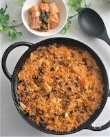 叉焼とキムチのパエリア