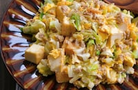ひき肉と厚揚げとキャベツと卵のとろみ旨だし炒め