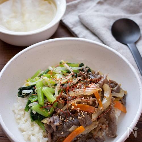 【ワンプレートごはん】下味調理で簡単!プルコギビビンバ丼