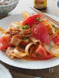 がっつり味でご飯が進む!トマト豚キムチ