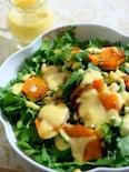 春菊と炙り柿のサラダ 塩麹ドレッシングで