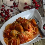 揚げ里芋とツナのトマトソースパスタ