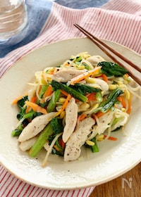 『たっぷり野菜と鶏肉の塩バター炒め』
