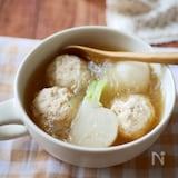 『うどんスープ』でかぶと鶏団子の春雨スープ