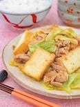 厚揚げとキャベツと豚バラのにんにく味噌炒め