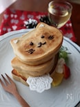 100均の型で作る!猫タワーのパンケーキ