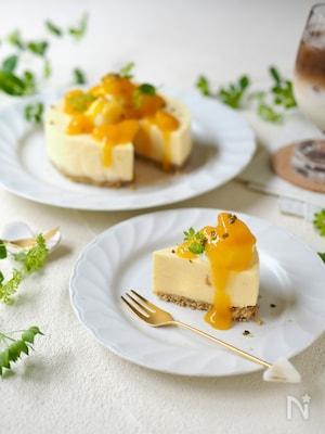 ジャムで簡単!マンゴーレアチーズケーキ【混ぜるだけ】