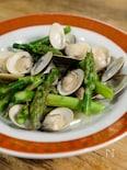 台湾家庭料理【アスパラとハマグリ炒め】