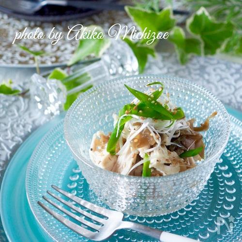 【しっとり蒸し鶏】鶏ささみとザーサイの中華風#作り置き#簡単