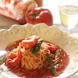 トマトのカッペリーニ、昆布出汁仕立て