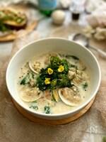 春の香り~優しいお味のあさりと菜の花の豆乳スープ