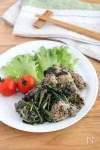 ご飯が進む!鶏むね肉とほうれん草の黒ごまガーリック醤油ソテー