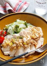 『むね肉と白菜の和風♡よだれ蒸し【#包丁不要 #レンジ】』