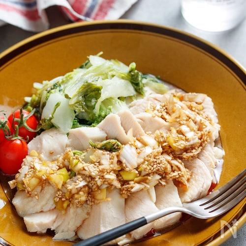 むね肉と白菜の和風♡よだれ蒸し【#包丁不要 #レンジ】