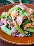 小松消費*『フワフワ卵と小松菜と豚バラのオイマヨ炒め』
