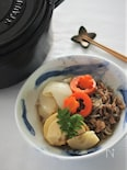 牛肉と筍と新玉ねぎのすき焼き風煮物(ストウブ料理)