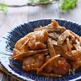 【らくレピ】新ごぼうと鶏肉にオイマヨにんにく照り炒め