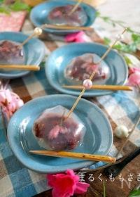 『ラップで作る!桜とあんこの茶巾寒天ゼリー♪』