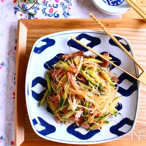 焼き豚ときゅうりの中華風春雨サラダ