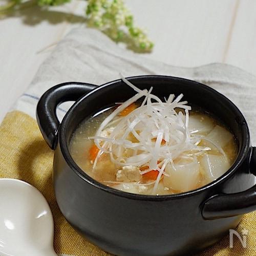 具だくさん*かぶとささみの中華スープ