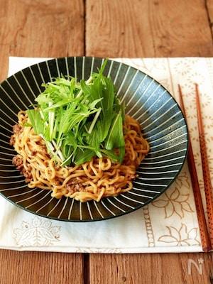 水菜のピリ辛和え麺