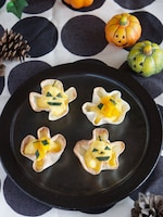かぼちゃのカスタードタルト簡単・餃子の皮使用【ハロウィン】