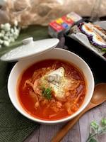 トマトジュースでお手軽に~春キャベツたっぷりトマトスープ