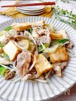 ボリュームおかず☆豚肉と長ネギと厚揚げの塩中華炒め