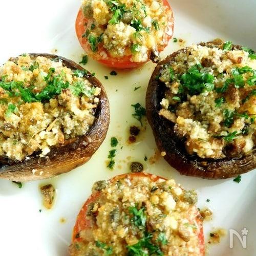 マッシュルームとトマトの香草パン粉焼き