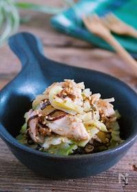 『レンジ&ワンボウルで♪『蒸し鶏とキャベツの梅塩こんぶ和え』』