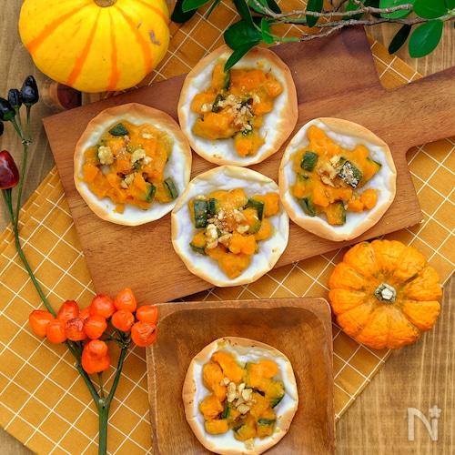 *餃子の皮deかぼちゃのはちみつチーズ明太サラダピザ*