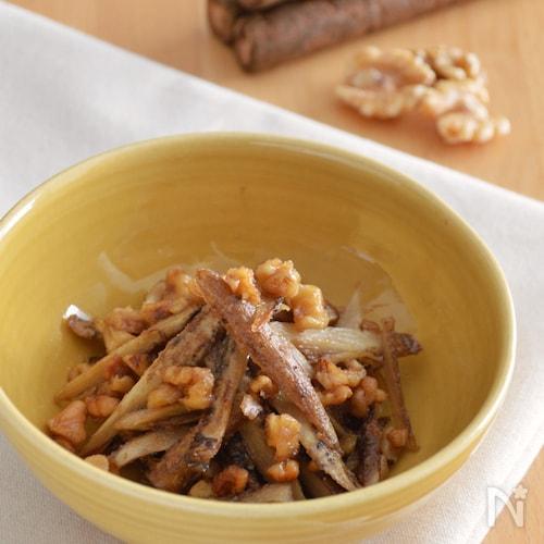 ごぼうのくるみ味噌和え。ごま油で炒めて♪作り置きやお弁当に。