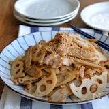 れんこんとごぼうと豚バラのにんにく味噌マヨ炒め