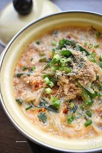 炒めて煮込むだけ♡つゆまで旨し♡こく旨♡春雨豆乳坦々スープ♡