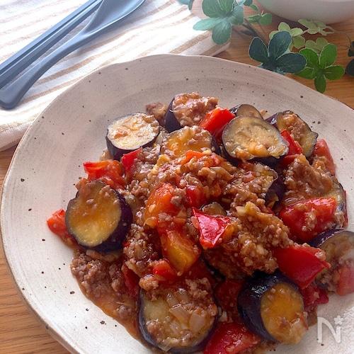 夏にピッタリ‼️耐熱ボウル一つでレンチンだけ♡トマトなす麻婆