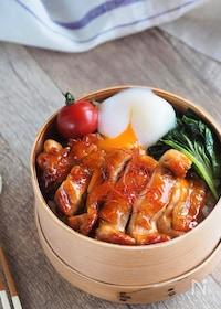 『【15分弁当】材料3品で大満足♪鶏のコチュジャン照り焼き弁当』