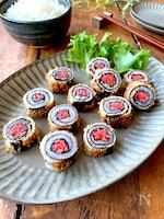 簡単おいしい〝豚の海苔紅生姜巻き〟お弁当、おつまみに