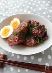 『豚ブロック肉のガーリック醤油煮込み』