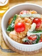 揚げない!揚げ鶏と夏野菜のガーリックハニマヨソース