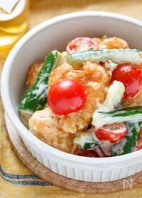 『揚げない!揚げ鶏と夏野菜のガーリックハニマヨソース』