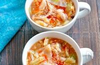 餃子の皮入り♪やわらか鶏肉とキャベツと卵のとろみ中華スープ